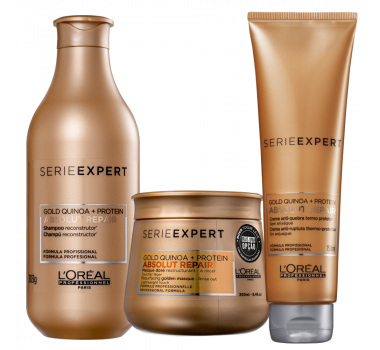 Absolut Repair Gold Quinoa + Protein Trio Shampoo + Máscara Light + Leave-In Creme - Série Expert / L'oréal Professionnel